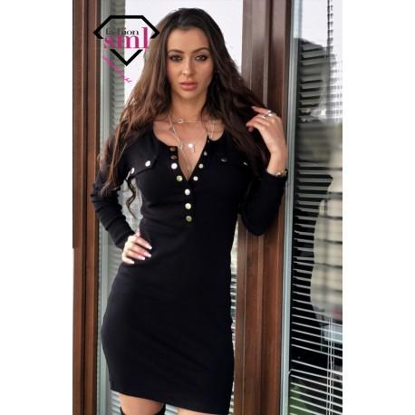 Czarna dopasowana BAWEŁNIANA sukienka z dekoltem, prążkowana