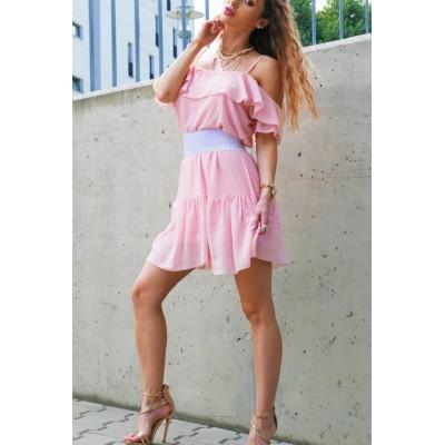 Sukienka hiszpanka w kolorze pudrowego różu
