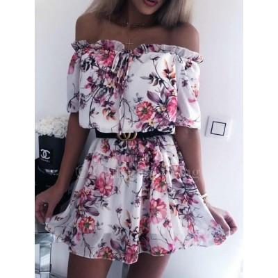 Wiosenna rozkloszowana sukienka na ramiona
