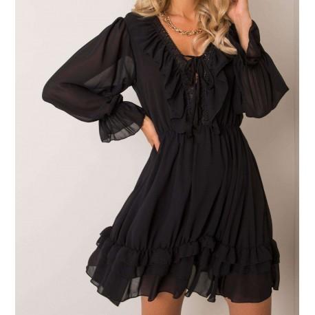 Alicia czarna sukienka z falbankami, długim rękawem z siateczką oraz ozdobnym dekoltem