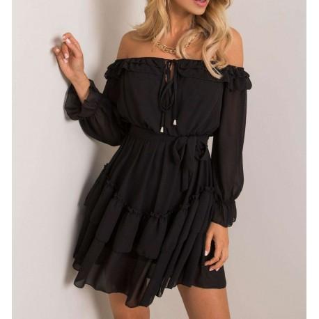 Angélica czarna sukienka z falbankami, długim rękawem, hiszpanka na ramiona