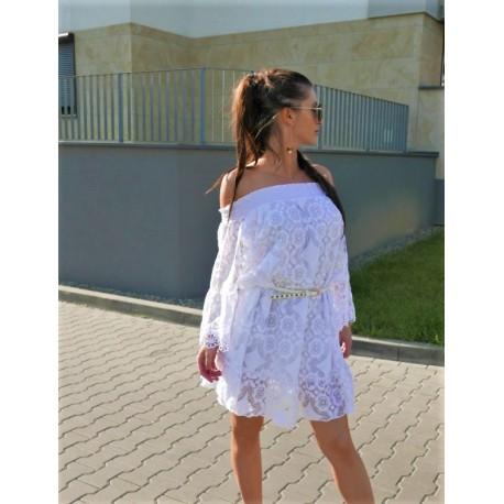 Jenna Koronkowa hiszpanka, rozkloszowana sukienka na ramiona