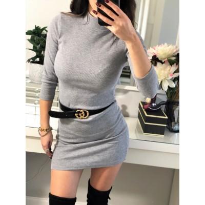 Sara szara prążkowana sukienka z golfikiem mini, bawełniana