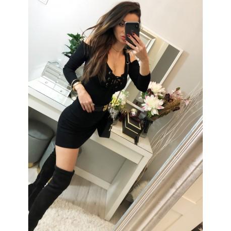 czarna elastyczna Sukienka z wycięciami i dekoltem lace up