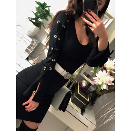 Czarna elegancka sukienka z wiązanymi rękawami
