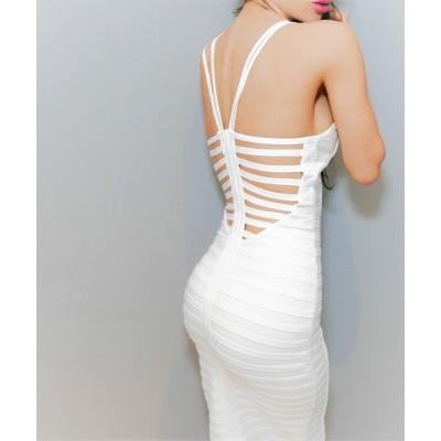 Biała bandażowa sukienka z plecami w paski