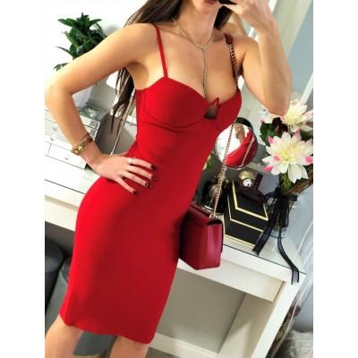 Ekskluzywna czerwona bandażowa sukienka