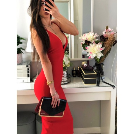 Czerwona dopasowana Bandażowa sukienka z głębokim dekoltem