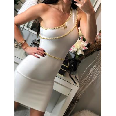 Biała BANDAŻOWA sukienka ze złotymi dżetami