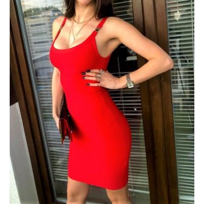 Czerwona bandażowa sukienka, DOPASOWANA S