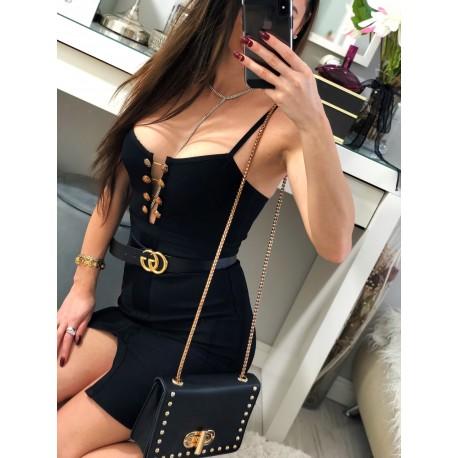 Czarna wyjątkowa sukienka ze zdobieniami