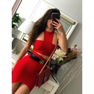 Czerwony bandażowy komplet damski, top i spódniczka