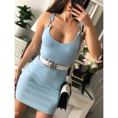 Laura błękitna sukienka mini, z dekoltem, klamerkami na rękawach