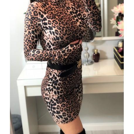 sukienka panterka mini z golfikiem z długim rękawem