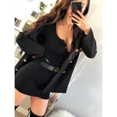 Czarna dopasowana sukienka z dekoltem, prążkowana