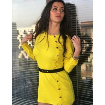 Żółta Sukienka ze złotymi guzikami z długim rękawem prążkowana
