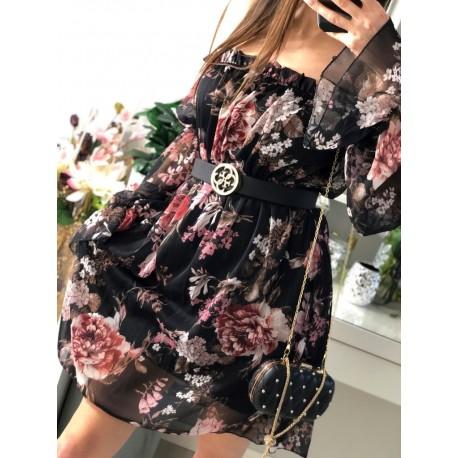 Rosalinda Sukienka hiszpanka w kwiaty, z odkrytymi ramionami i marszczonymi długimi rękawami