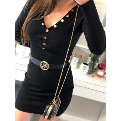 Victoria, ołówkowa czarna prążkowana sukienka bawełniana, z zapinanym na napy dekolcie