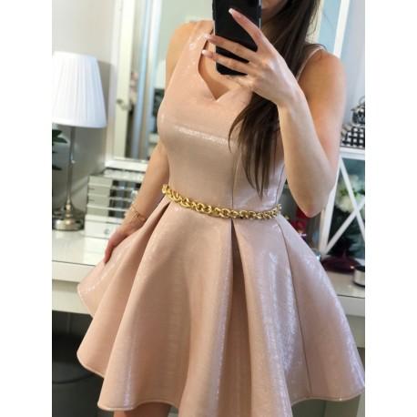 Balowa błyszcząca suknia pudrowy róż