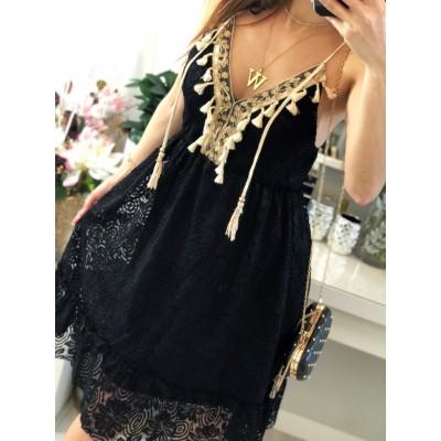 Czarna sukienka boho