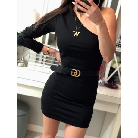 Diana czarna ołówkowa sukienka na jedno ramię, basic