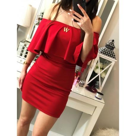 Czerwona sukienka hiszpanka z odkrytymi ramionami z falbanką