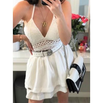 Catherina elegancka biała spódnica rozkloszowana z falbankami