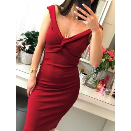 Corazón dopasowana, elastyczna, ołówkowa czerwona sukienka midi, z głębokim dekoltem