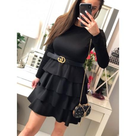 Dolores czarna sukienka z falbankami, długim rękawem grubszy materiał