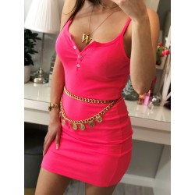 Isabel prążkowana sukienka mini w kolorze neonowego różu, na ramiączkach