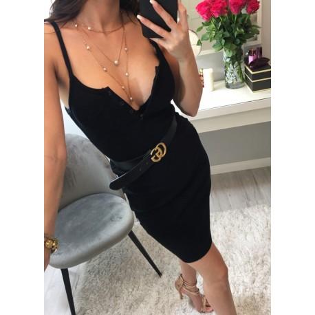 Isabel ołówkowa czarna prążkowana sukienka mini z rozpinanym dekoltem