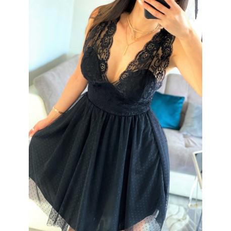 Marsala czarna sukienka koronkowa z tiulem długości midi