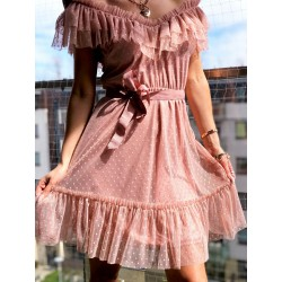 Sukienka Rose mini tiulowa sukienka w kolorze brudnego różu, na ramiona