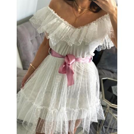 Biała sukienka Rose, mini tiulowa sukienka na ramiona, lekko rozkloszowana