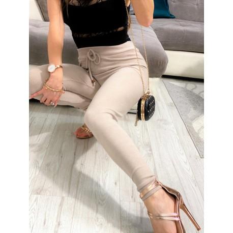Jasnobeżowe sztruksowe legginsy z wysokim stanem, spodnie rurki
