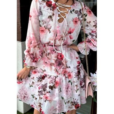 Sukienka w kwiaty lorenzo z falbankami