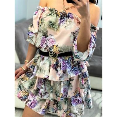 Sukienka w kwiaty stylownia z falbankami na ramiona, rozkloszowana hiszpanka