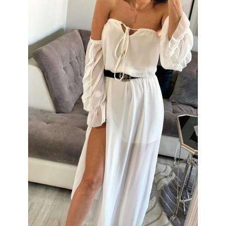 Kyra la szyfonowa biała sukienka maxi, hiszpanka z rozcięciami