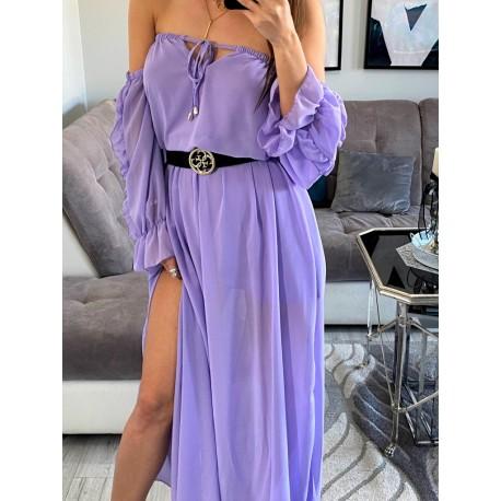 Mystiq szyfonowa lilowa sukienka maxi, hiszpanka z rozcięciami
