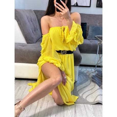 Brooklyn żółta szyfonowa sukienka maxi , hiszpanka z rozcięciami