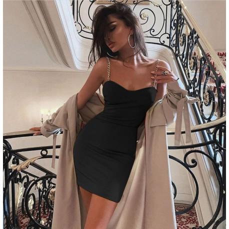 Lossal czarna sukienka mini ze złotymi łańcuszkami przy ramiączkach