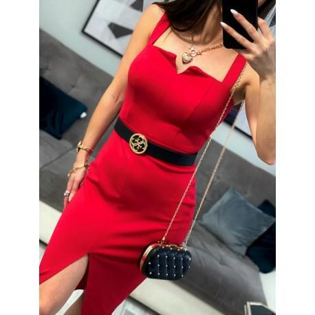 Elegancka czerwona sukienka midi z v-dekoltem