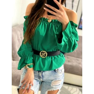 Pauza zielona bluzka hiszpanka z marszczonymi rękawami