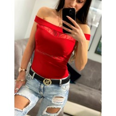 Luisso czerwone body na ramiona w stylu hiszpańskim z siateczką
