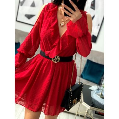 Lulu czerwona sukienka kopertowa z falbankami