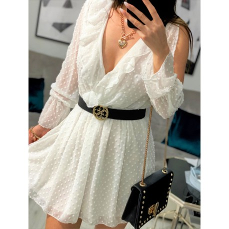 Lulu biała sukienka kopertowa z falbankami