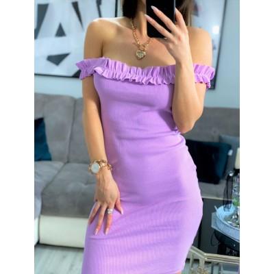 VIP Liliowa sukienka hiszpanka na ramiona prążkowana