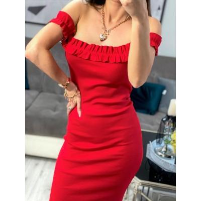 VIP czerwona sukienka hiszpanka na ramiona prążkowana