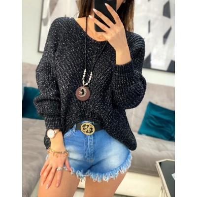 Celestina nieregularny sweter oversize czarny, ze święcącą srebrną nitką