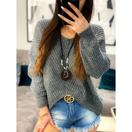 Celestina nieregularny sweter oversize szary, ze święcącą srebrną nitką
